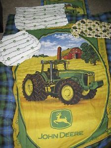 Boys Twin John Deere Tractor Bedding Set with Matching Window Valance