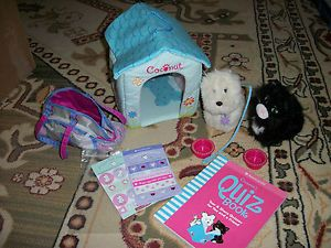 Estate Genuine American Girl Doll Accessories Cat Dog House Carry Bag Book