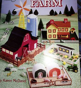 Complete Farm Plastic Canvas Pattern Barn House Silo Windmill Dog House Pig Pen