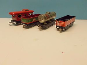 Marx 552 556 553 91257 Tinplate Freight Car Lot 4pcs
