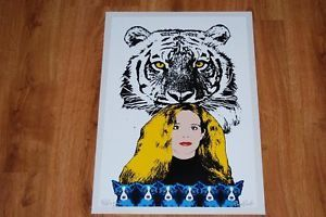 "FTI George Rodrigue Blue Dog ""Tiger Paws"" White Go LSU Print 1997"
