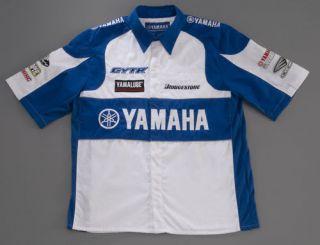 Yamaha Accessories Apparel Men's Race Pit Shirt White Blue