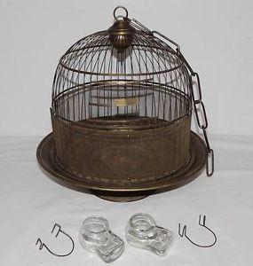 "Antique Victorian ""Hendryx"" Brass Bird Cage w Glass Feeders Waterers"