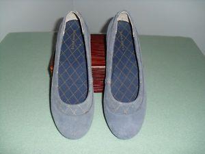 Womens Lands' End Ballet Shoes Blue Suede Flats Accessories Ladies Clothing
