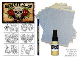 Tattoo Supplies Skulls Flash Art Hectograph Stencil Pencil Spray Free Paper