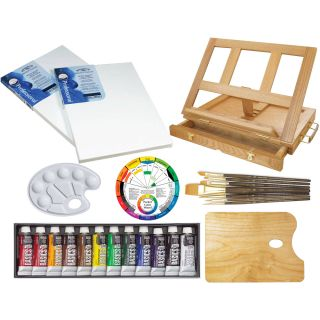 New Liquitex 12 Acrylic Paint Table Easel Artist Painting Set Kit Brushes Canvas