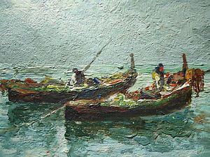 Early Primitive Painting Fishing Boats American Folk Art Oil Wood Board O B
