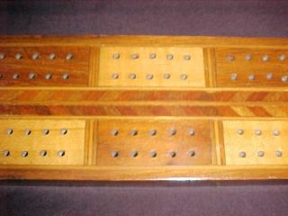 Early Vintage Antique American Folk Art Wood Wooden Inlaid Cribbage Board Look