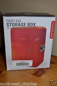 Kikkerland Red Metal Empty First Aid Storage Box Home Health