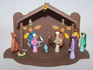Christmas Nativity Hand Crafted Art 9 Paper Filigree Quilling Figures