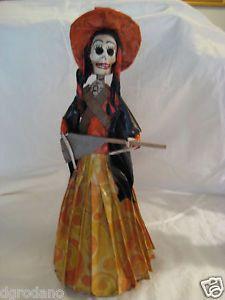 La Calavera Catrina Paper Mache Doll Mexico Folk Art Day of The Dead Hand Made 4
