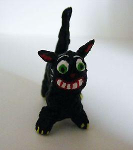 Little Mini Vintage Style Halloween Paper Mache Folk Art Black Cat OOAK
