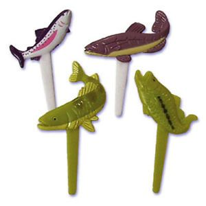 Fishing Cupcake Picks Cake Toppers Party Supplies Bakery Fish Trout Bass 24