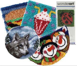 Wonderart Latch Hook Kit Rugs Pillows Family Fun Colorful Wall Art Yarn