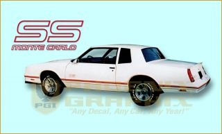 1987 1988 Chevrolet Monte Carlo SS Super Sport Decals Stripes Kit