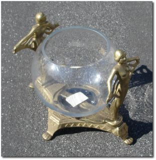 Art Deco 1920's Style Bathing Beauty Brass Aquarium Fish Bowl Stand Holder