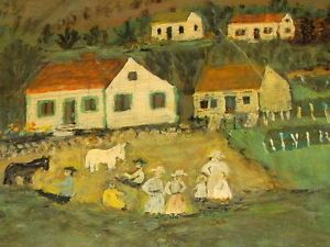 Antique Primitive Naive American Folk Art Painting on Board Family Farm Scene