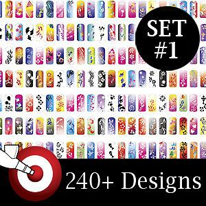 Pro Airbrush Nail Art Paint Stencil Kit Design Set 1