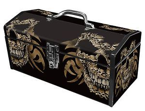Black Skulls Sainty Art Deco Heavy Duty Steel Tool Box Ink Tattoo Pirate Style