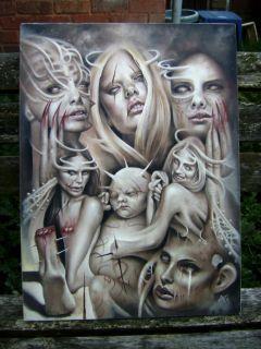 1 Original Oil Painting Dark Surreal Horror Occult Giger Ish