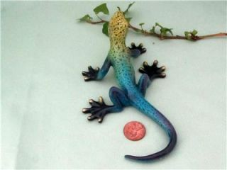 Lizard Gecko Blue Yellow Purple Colorful Hand Painted Resin Sculpture