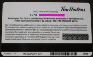 Tim Horton's Gift Card CFL 2012 Hamilton Tiger Cats Football Club No Value New