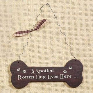 Spoiled Dog Lives Here Pet Lover Wood Sign Wall Decor