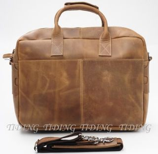 "Mens Full Grain Leather Briefcases Messenger 17"" Laptop Bags Tote Business Cases"