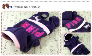 Dog Cat Clothes Hoodie All in One Suits Fleece Jersey Pink Embroidered H300