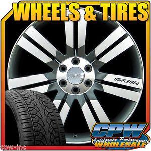 "New 24"" inch Wheels Rims and Tires GMC Yukon Sierra Denali Gunmetal Machined Fac"