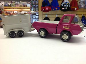 Vintage Pink Tonka Pick Up Truck w Horse Trailer Pressed Steel Car 1970s