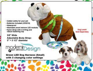 Dog Harness Green Color LED Flashing Pet Rope Belt Safety Glow Leash Lead Light