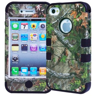 Shockproof Hybrid Real Tree Camo Mossy Oak Hard Soft Case Cover for iPhone 4 4S