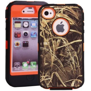 Heavy Duty Straw Grass Real Tree Camo Defender Case for iPhone 4 4S Orange