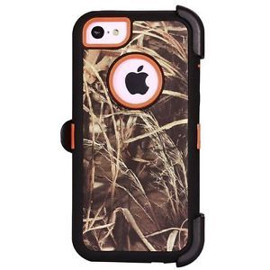Heavy Duty Straw Grass Real Tree Camo Defender Case Holster for iPhone 5c Orange