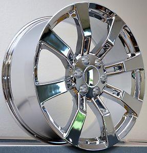"""4 20"""" Tires Chrome Wheels Cadillac Escalade GMC Denali Sierra Rims Set Package"""
