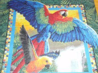 Parrots Macaws Conure Birds Tropical Handmade Fabric Throw Pillows