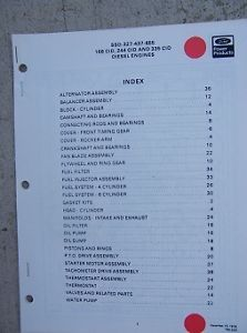 1978 Ford Diesel Engine Parts Manual List SSD 327 437 655 168 244 335 CID L
