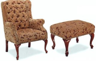Queen Anne Button Tufted Wing Accent Chair w Ottoman