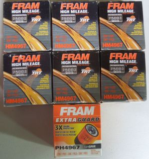 Lot of 6 Fram High Mileage HM4967 Filters 1 Fram Extra Guard PH4967 Filter