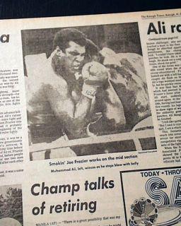 Thrilla in Manila Muhammad Ali vs Joe Frazier Boxing Title 1975 NYC Newspaper