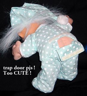 "Russ Troll Kidz 12"" Baby Boy Blue Polka Dot Trap Door Pajamas Cap Soft Doll"
