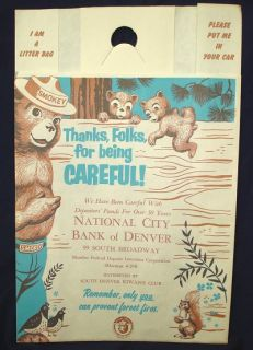 Old Smokey Bear Paper Litter Bag Denver Co Fire Prevent