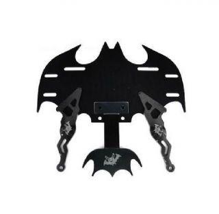 Ml Bat Batman Universal Chrome Motorcycle License Plate Frame Black