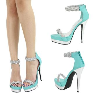 Aqua Mint Blue Open Toe Silver High Heel Platform Mary Jane Stiletto Pump Sandal