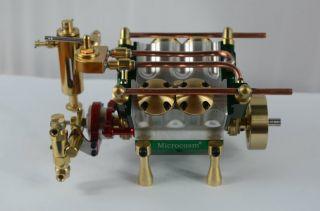 V4 Cylinder Steam Engine with Steam Boiler Feed Pump