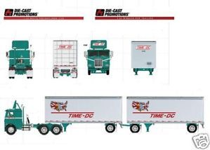 DCP Time DC White Freightliner w Double Pup Trailers