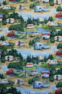 Vintage Travel Trailers Green Campers Airstream Caravan Cotton Quilt Fabric