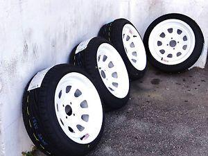 15x8 White Diamond Racing Rims w 195 45 15 Toyo Proxes T1R Tires EF EG EK