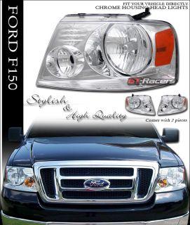 04 08 Ford F150 Stock Style Chrome Crystal Headlights
